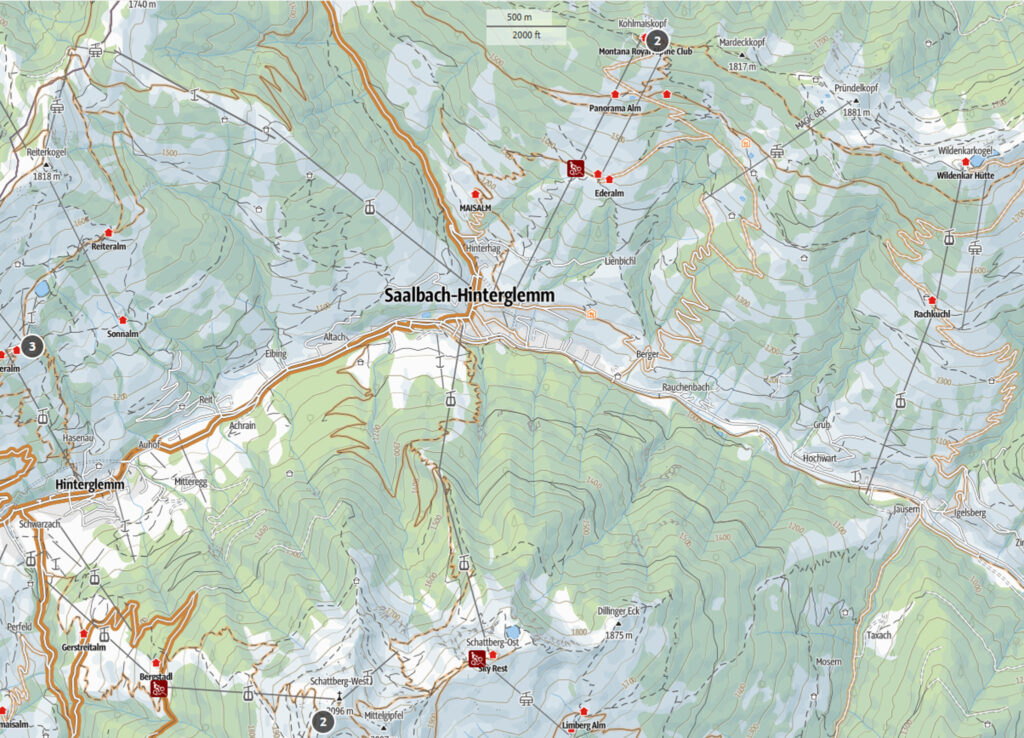 Sommer Mountainbikekarte Saalbach | Pension Alpenrose - Maishofen
